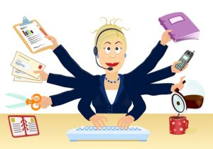 multitasking-woman-at-work